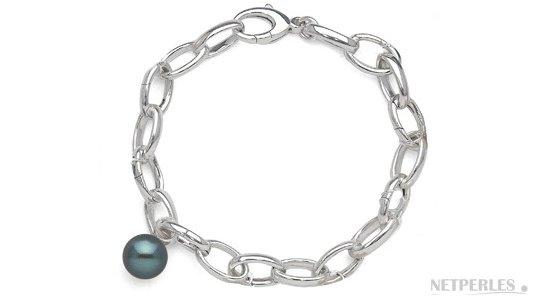 Bracelet INCANTO en argent rhodié avec une perle de culture d'eau douce noire bien ronde