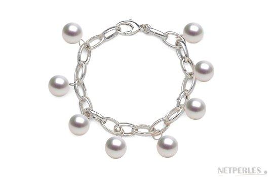 Bracelet en Argent 925 rhodié avec perles d'australie AAA