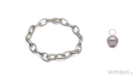 Bracelet Argent 925 rhodié avec perles de culture d'eau douce lavande