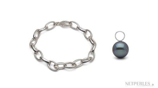 Bracelet en argent rhodié avec perles de culture d'eau douce