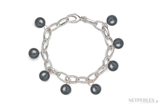 Bracelet en argent rhodié avec perles de culture d'eau douce noires