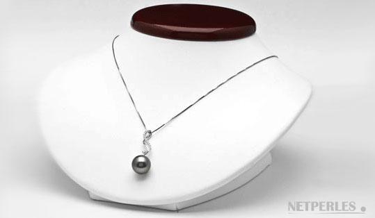 pendentif perle de culture de tahiti, sur or gris 18 carats