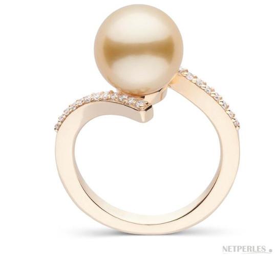 Bague en Or Jaune et Diamants avec perle dorée d'Australie 9-10 mm AAA