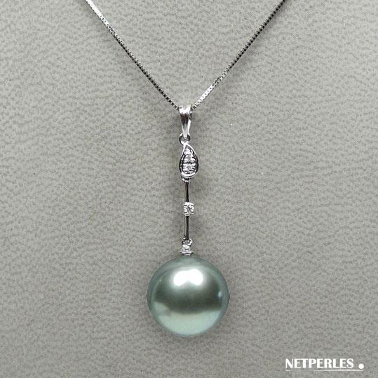 Pendentif Or gris 18 carats et diamants avec perle de culture de Tahiti AAA