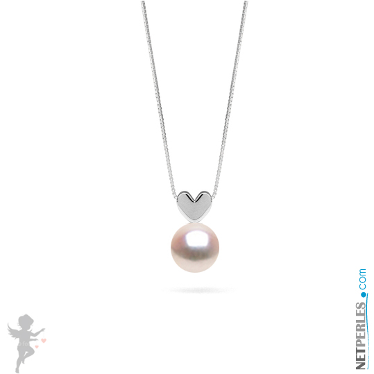 Pendentif coeur en Argent massif (925) avec perle akoya blanche qualité AAA