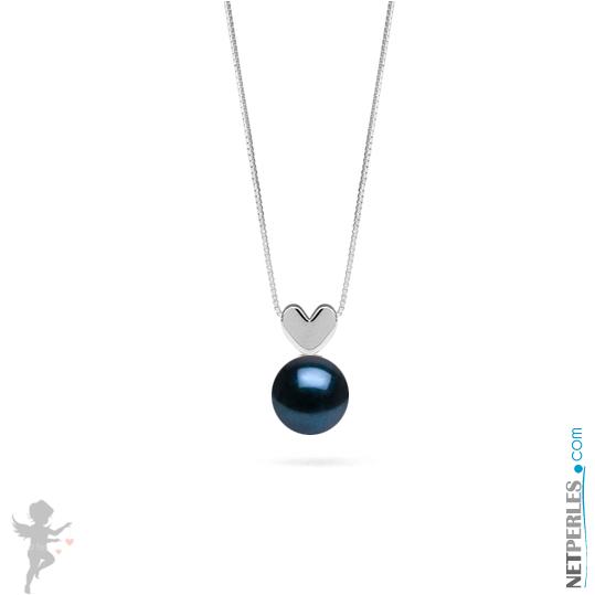 Pendentif coeur en Or gris14 carats et perle noire akoya qualite AAA
