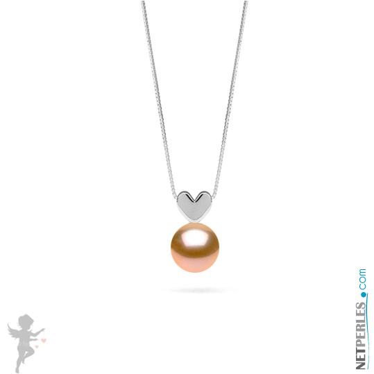 Pendentif en forme de coeur en Argent massif avec une perle peche d'eau douce qualité AAA
