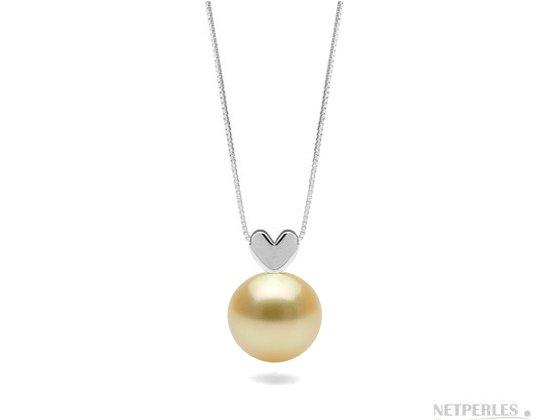 Pendentif coeur en argent massif (925) avec perle doree d'australie qualité AAA