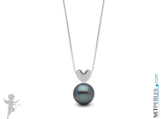 Pendentif en argent massif en forme de coeur avec une perle noire d'eau douce qualité AAA