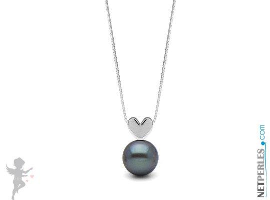Pendentif coeur Or gris  14 carats avec perle noire d'eau douce qualité AAA