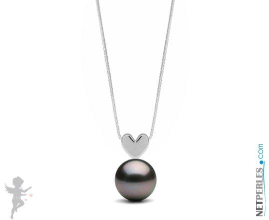 Pendentif coeur en Argent massif 925 avec perle noire de tahiti qualité AAA de 8 à 9 mm