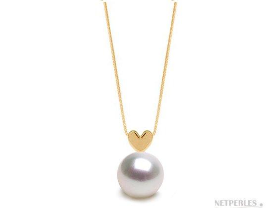 Pendentif Or jaune 14 carats et perle blanche argentée d'australie qualité AAA