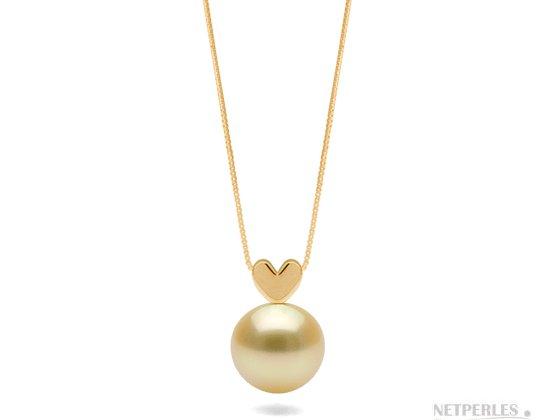 Pendentif en or jaune 14 carats avec perle doree d'australie qualité AAA