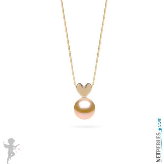 Pendentif LOVE en Or 14 carats et perle de culture d'eau douce rose pêche