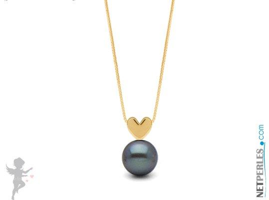 Pendentif coeur Or jaune  14 carats avec perle noire d'eau douce qualité AAA