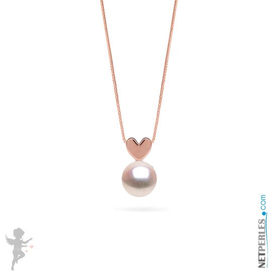 Pendentif coeur en or rose 14 carats avec perle blanche d'eau douce qualité AAA