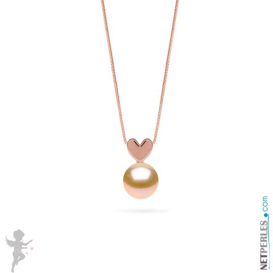 Pendentif LOVE en Or Rose 14 carats et perle de culture d'eau douce rose pêche