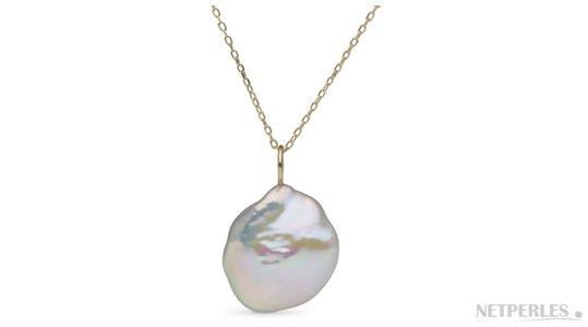 Pendentif en Or 14 carats et perle baroque KESHI d'Eau Douce de 14-16 mm! Une perle rare!!