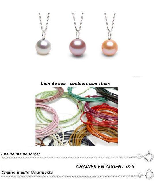 Pendentif MIGNON en Argent et perles d'eau douce multicolores