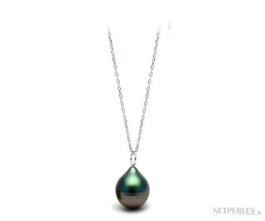 Pendentif en or gris et perle de Tahiti baroque