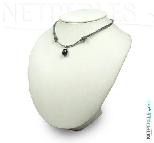 Lien Cuir avec pendentif argent et perle de culture forme goutte d'eau douce