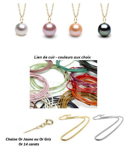 Pendentif en Or avec perle d'eau douce avec cordon cuir ou chaine
