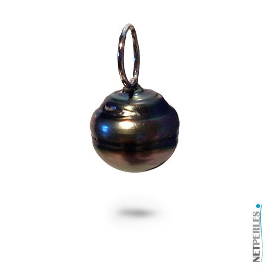 Pendentif perle de tahiti baroque sur beliere Or gris