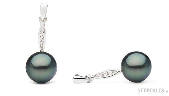 Boucles d'Oreilles en argent, perles de Tahiti 8-9 mm avec diamants