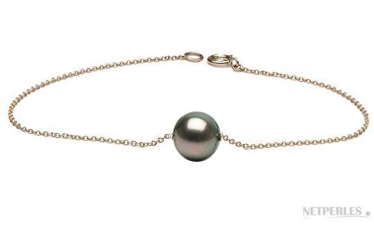Bracelet chaine or 18 carats traversant une perle de Tahiti