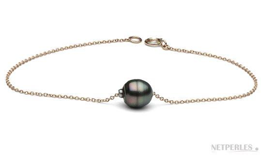 Bracelet en or 14 carats, chaine maille forçat traversante une perle baroque de Tahiti