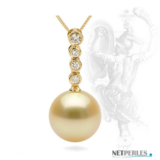 Pendentif Or 18 carats et perle dorees d'australie à partir de 9 mm à 15 mm au choix avec ou sans chaine