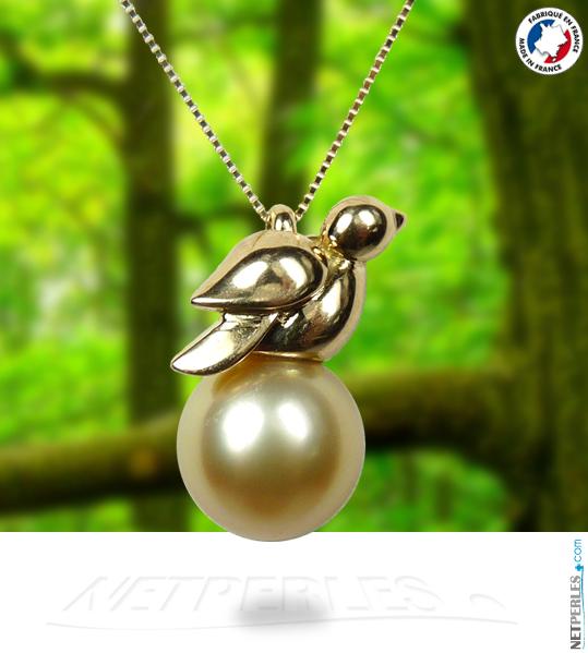 Oiseau en Or sur Perle doree d'australie