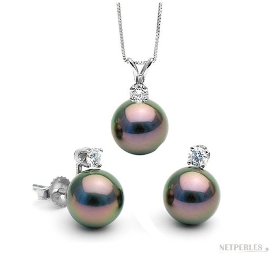 Parure Vivian avec perles de Tahiti