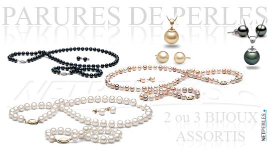 Parures de perles, perles de culture, bijoux de perles, collier bracelet boucles assorits, bijoux assorits