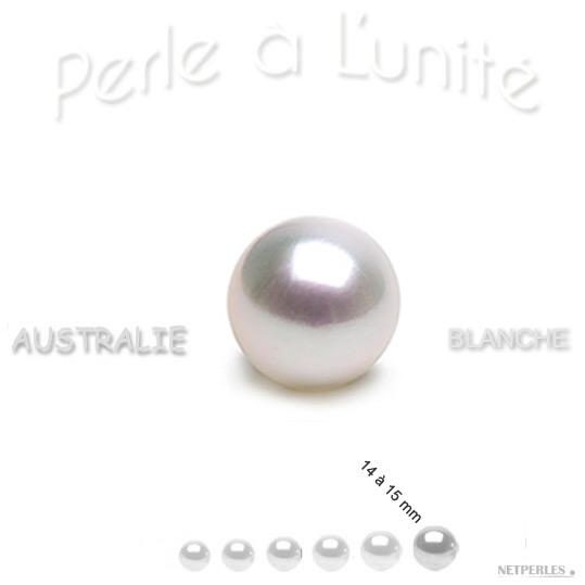 perle de culture d'Australie blanche argenté de 14 à 15 mm qualité  AAA