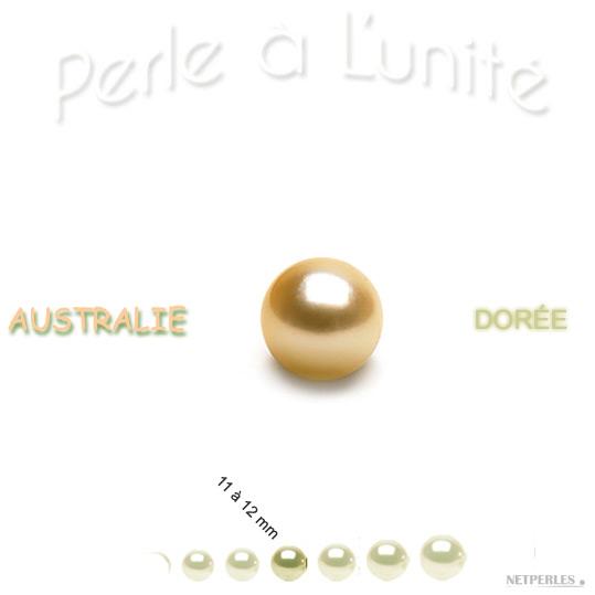 Perle de culture d'Australie doree de 11 à 12 mm vendue à l'unité qualité AA+ ou AAA