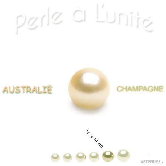 Perle de culture d'Australie Champagne de 13 à 14 mm qualité AA+ ou AAA vendue à l'unite