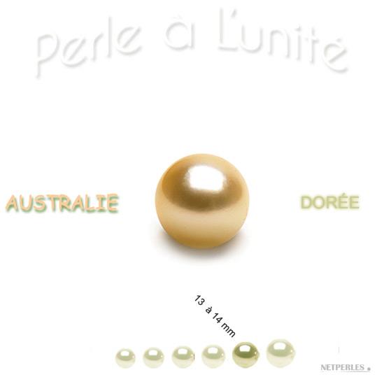 Perle de culture d'Australie Doree de 13 à 14 mm qualité AA+ ou AAA vendue à l'unite