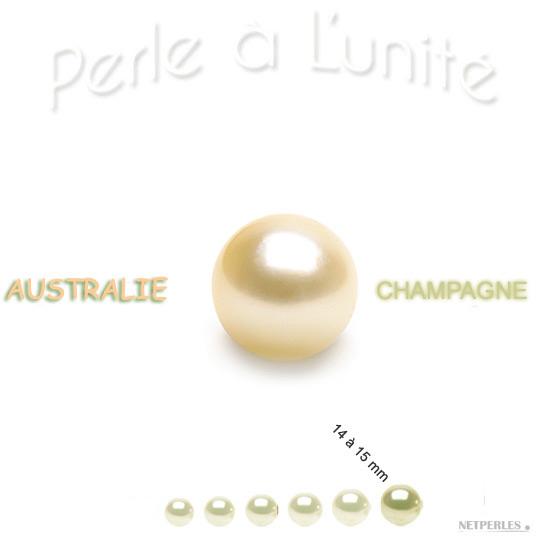 Perle de culture d'Australie Champagne de 14 à 15 mm qualité AA+ ou AAA vendue à l'unite