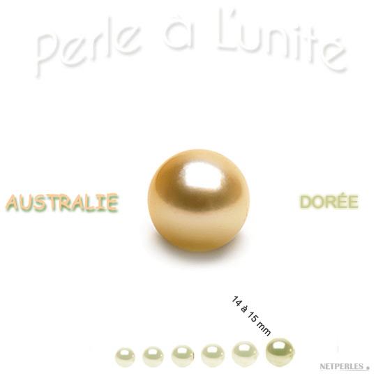 Perle de culture d'Australie doree de 14 à 15 mm qualité AA+ ou AAA vendue à l'unite