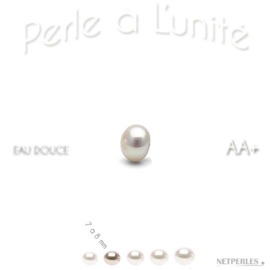 Perle d'eau douce blanche de 7 à 8 mm qualité AA+