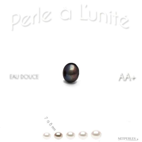 Perle d'eau douce noire de 7 à 8 mm qualité AA+