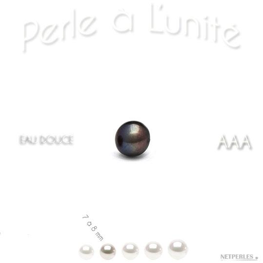 Perle de culture d'eau douce noire de 7 à 8 mm bien ronde qualité AAA