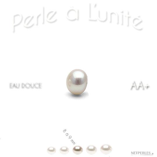 Perle de culture d'eau douce blanche qualité AA+ de 8 à 9 mm