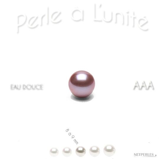 Perle de culture d'Eau Douce Lavande de 8 à 9 mm qualité AAA