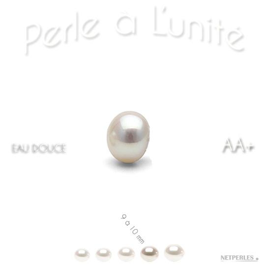 Perle de culture d'Eau Douce blanche de 9 à 10 mm qualité AA+