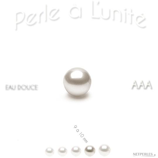 Perle de culture d'Eau Douce blanche de 9 à 10 mm qualité AAA