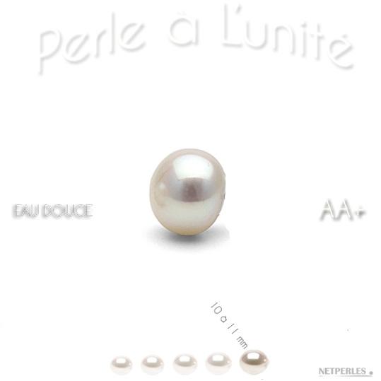 Perle de culture d'eau douce blanche de 10 à 11 mm qualité AA+