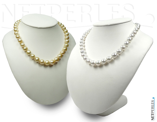 Colliers de perles d'australie - collier de perles dorees - collier de perles blanches argentees - collier de grosses perles de culture