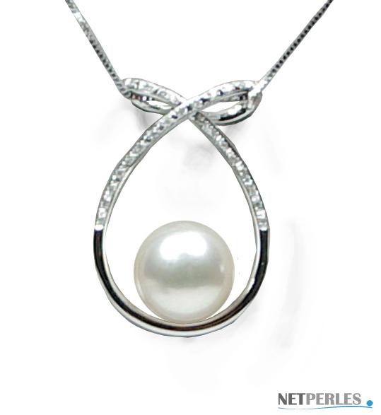 PENDENTIF or et diamants avec perle d'australie blanche qualité AAA